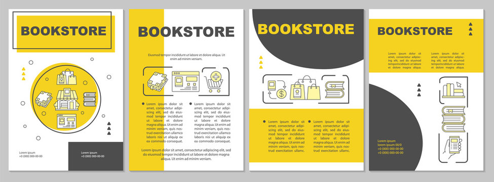 Bookstore brochure template. Flyer, booklet, leaflet print, cover design with linear illustrations. Online e-library. Modern vector page layouts for magazines, annual reports, advertising posters