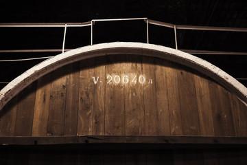 Old wooden barrel fragment, close-up photo