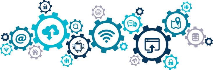 IT technology icon concept - online data / wireless internet / cloud computing / blockchain / ai: vector illustration