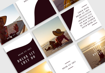 Social Media Grid Layout with Dark Accents