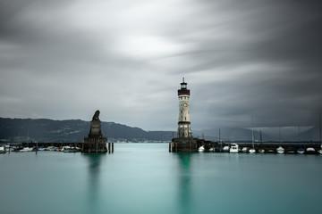 Lighthouse and Harbor Entrance, Lindau, Lake Constance, Bavaria, Germany