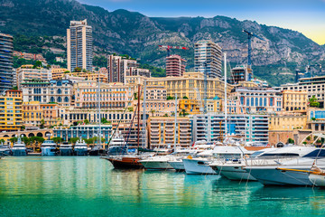 Wall Mural - Luxury yachts and apartments in harbour of Monaco, Cote d'Azur.