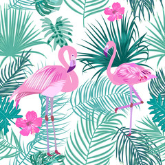 Vector tropical jungle seamless pattern with flamingo, palm tree leaves