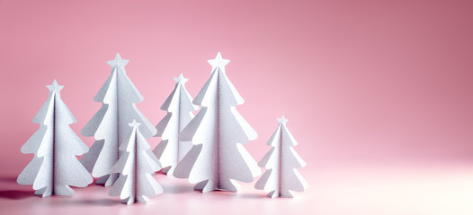 Wall Mural - Paper Christmas tree on pink background