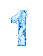 Fototapete - Number 1 made of water splashes, isolated on a white background