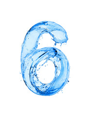 Fototapete - Number 6 made of water splashes, isolated on a white background