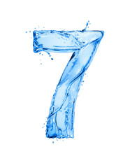 Fototapete - Number 7 made of water splashes, isolated on a white background
