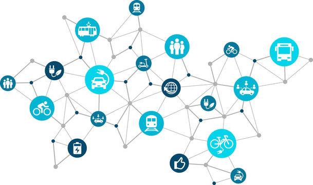 new mobility icon concept: modern individual transportation alternatives, e-car, e-bike, scooter, car sharing - vector illustration