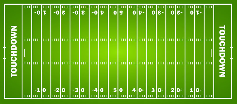 American football field concept with markings. Soccer field in top view. Vector graphics