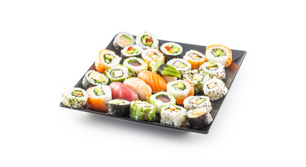 Fotobehang Sushi bar Assortment of japanese sushi rolls nigiri sashimi and maki isolated on white