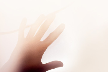 Obraz Man hand in white foggy light. Abstract horizontal background. Concept art for graphic design projects, posters, banners and social media. - fototapety do salonu