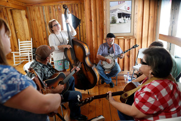 "The bluegrass band ""Red, White and Blue"" warm-up before performing at the 2019 Presidential Galivants Ferry Stump Meeting in Galivants Ferry"