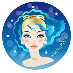 Beautiful female face representing the zodiac air sign of aquarius