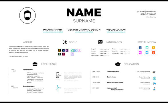 Real modern minimalistic personal CV design vector template