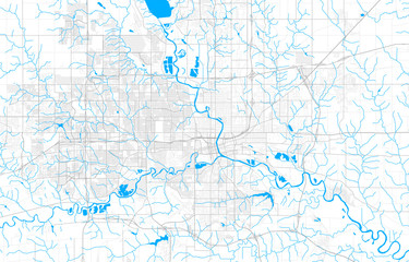 Rich detailed vector map of Des Moines, Iowa, USA