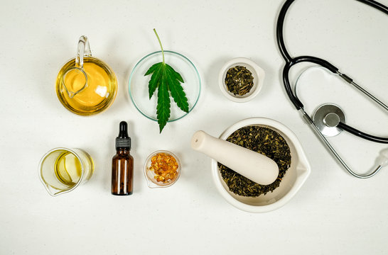 cbd thc oil medical treatment in doctor laboratory. natural medicine on clinical research .