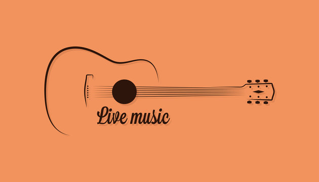 Guitar logo of live music on yellow background