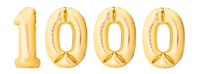 Number 1000 one thousand made of golden inflatable balloons isolated on white background. Helium balloons 1000 one thousand number