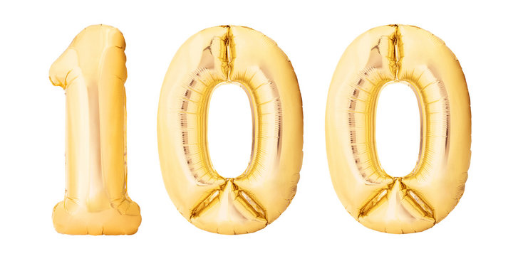 Number 100 one hundred made of golden inflatable balloons isolated on white background. Helium balloons 100 one hundred number