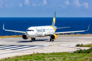 Thomas Cook Airlines Scandinavia Airbus A321 airplane Skiathos airport