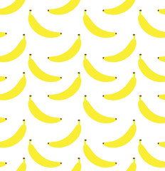 Vector seamless pattern of flat cartoon yellow banana isolated on white background