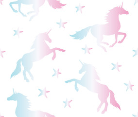 Vector seamless pattern of holographic unicorn silhouette isolated on white background