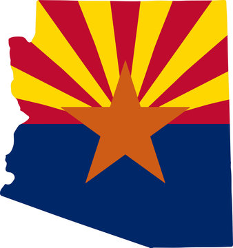 Map and flag of US State of Arizona Vector illustration