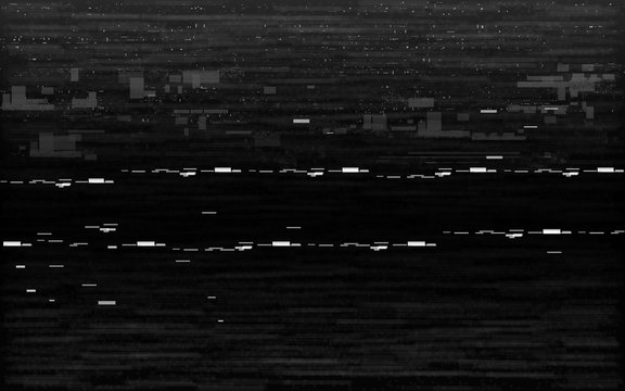 Glitch VHS black and white. Analog distortion effect with white noise and random lines. Rewind or pause concept. Retro no signal on black background. Vector illustration