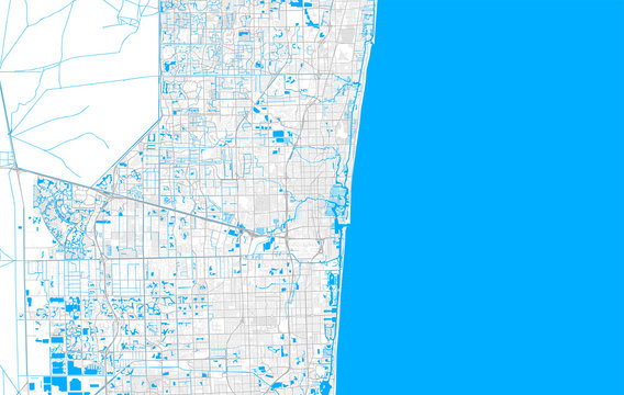 Rich detailed vector map of Fort Lauderdale, Florida, USA