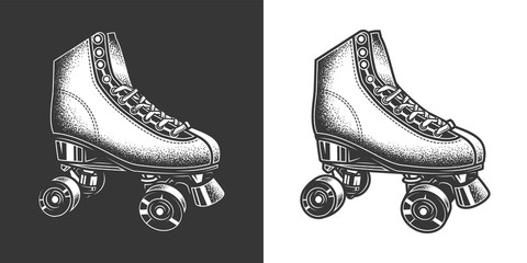Original monochrome vector illustration in retro style. Vintage roller skates