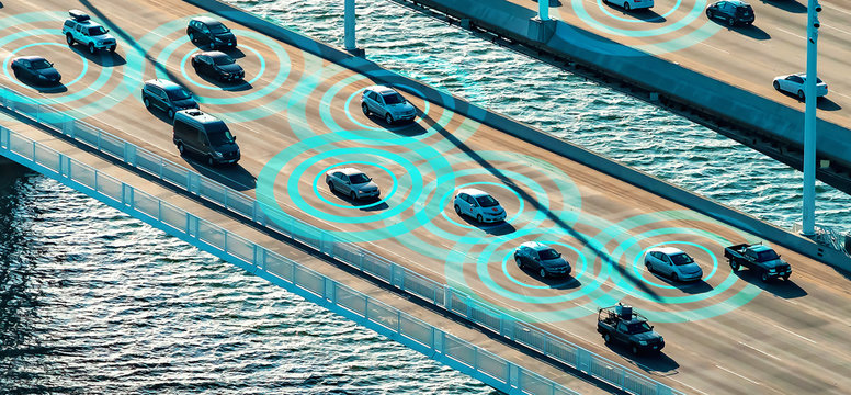 Autonomous vehicles driving and communicating on the highway