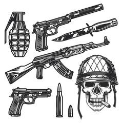 Original monochrome vector military set
