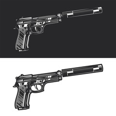 Original monochrome vector illustration of a pistol with a silencer