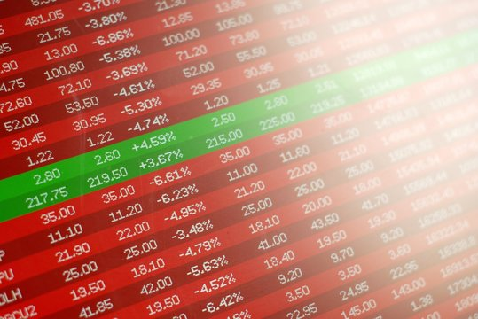 Safe investment in stock market crash, concept. Red negative prices and the only two winning stocks in green.