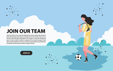 Female Soccer holding a shoe and ball landing page background - vector