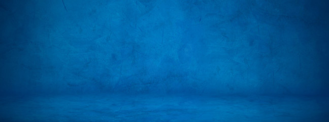 Fototapete - dark blue cement studio wall, concreate floor background to display product