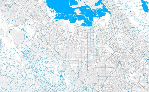 Rich detailed vector map of Sunnyvale, California, USA