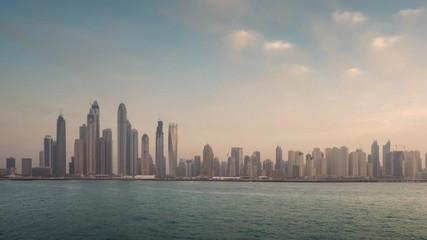 Fototapete - timelapse of skyscrapers in Dubai Marina, sunset time, UAE