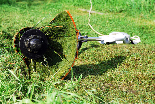 Portable electric grass trimmer lying on green lawn. Grass shreds stuck to it and wrap around the gardening tool.
