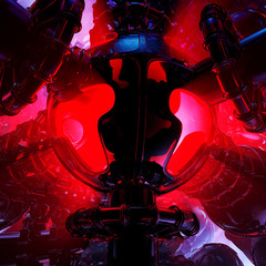 strange high tech alien science fiction reactor with red lights and dark energy transducer