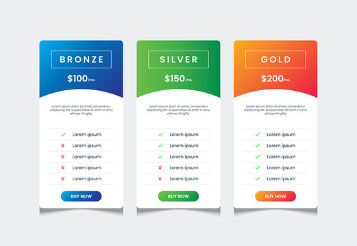3 columns of price list table desing template, comparative table, infographic tariff vector