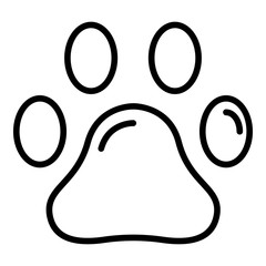 Pet paw icon. Outline pet paw vector icon for web design isolated on white background