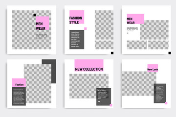 Minimal layout design background vector illustration in black purple white frame color. Editable square geometric shape banner template for social media post, stories, story, flyer, look book magazine