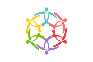 Cancer Awareness Ribbon People Group. People like ribbons in a circle holding together to support. Vector Logo design