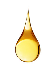 Drop of oil on white background
