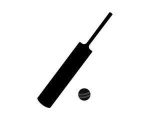 Cricket bat and ball, black silhouette, vector illustration