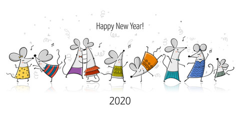 Funny mouses party, symbol of 2020 year. Banner for your design