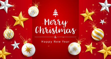 Merry christmas and happy new year card with gold, silver star and christmas ornaments bubbles background. Vector illustrations.