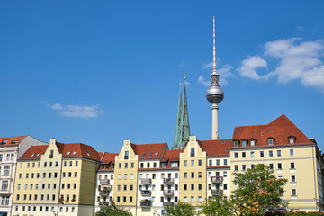 The famous Nikolaiviertel in Berlin with the Television Tower in the back