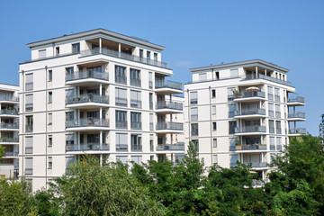 New white apartment houses seen in Berlin, Germany